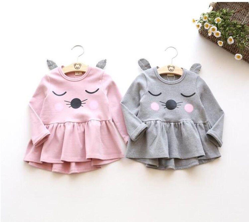 2991e9935880  8.79 AUD - Cute Toddler Kid Baby Girl Cartoon Long Sleeve Dress ...