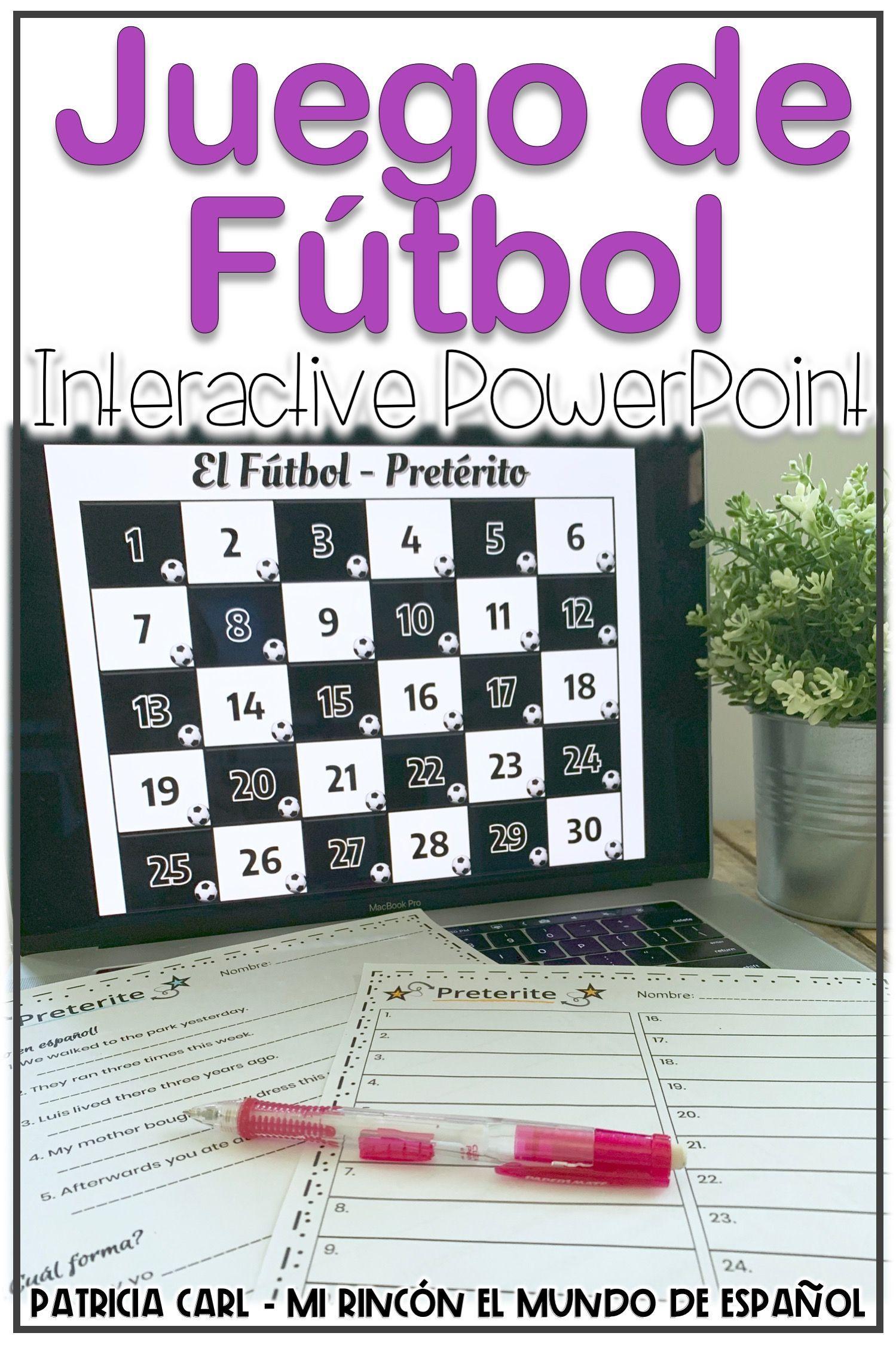 Spanish Preterite Game Un Juego De Futbol With Worksheet