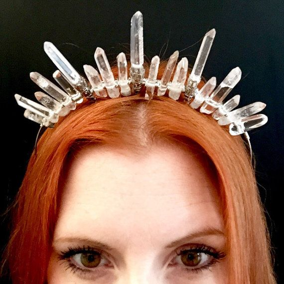 The HERMES Crown - Crystal Quartz Icon Crown Tiara headdress - Magical Headpiece. Alternative Bride, festival #crowntiara