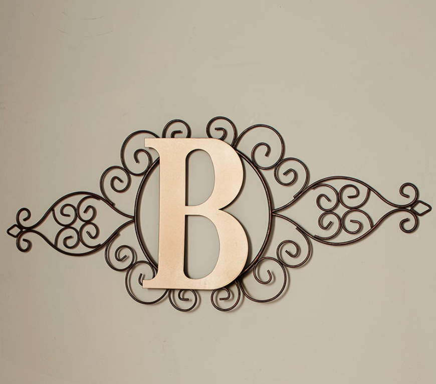 The Letter B Initial Indoor Outdoor Wall Hanging Metal Rustic Scrollwork Decor Ebay Monogram Wall Hangings Monogram Wall Personalized Wall Decor