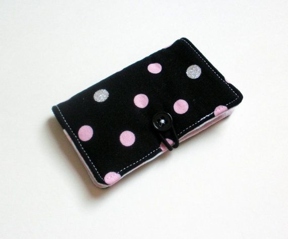 Silver pink dots on black fabric business card holder with pink silver pink dots on black fabric business card holder with pink broken chevron credit reheart Images