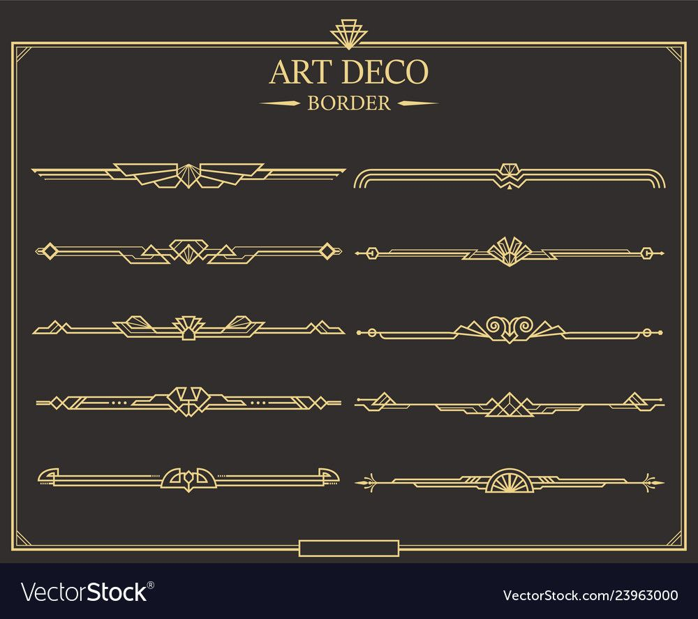 Set Of Art Deco Gold Calligraphic Page Dividers Vector Golden Flourishes Page Decoration Vignettes Art Deco Borders Art Deco Pattern Art Deco Interior Design