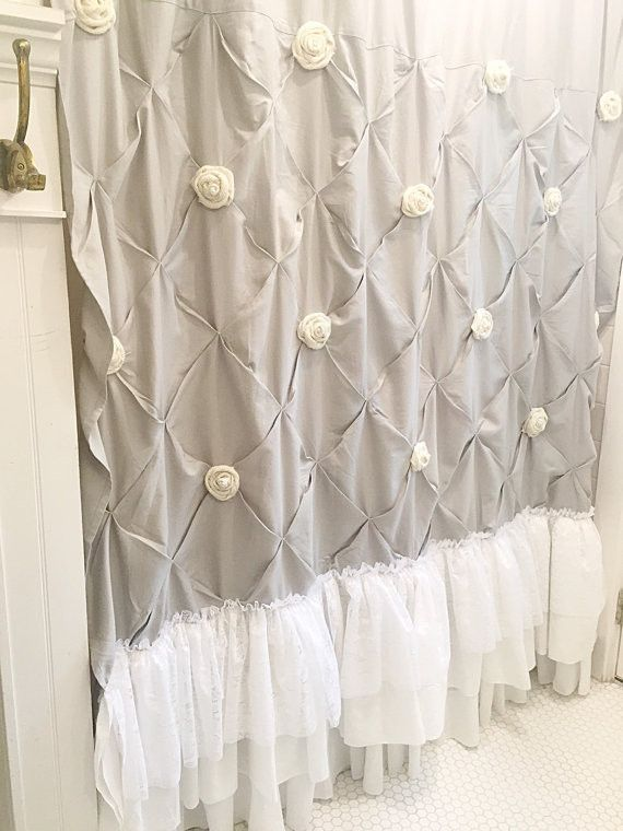 Grey Ruffle Shower Curtain Pin Tuck Handmade Shabby Chic Bathroom