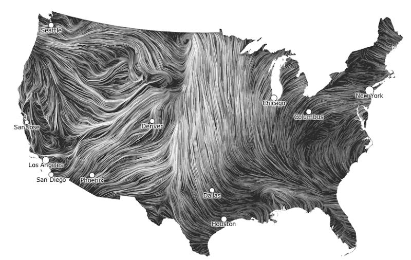 Wind Map A Visualization To Make Tufte Proud Wind Map Data Visualization Examples Data Visualization Design