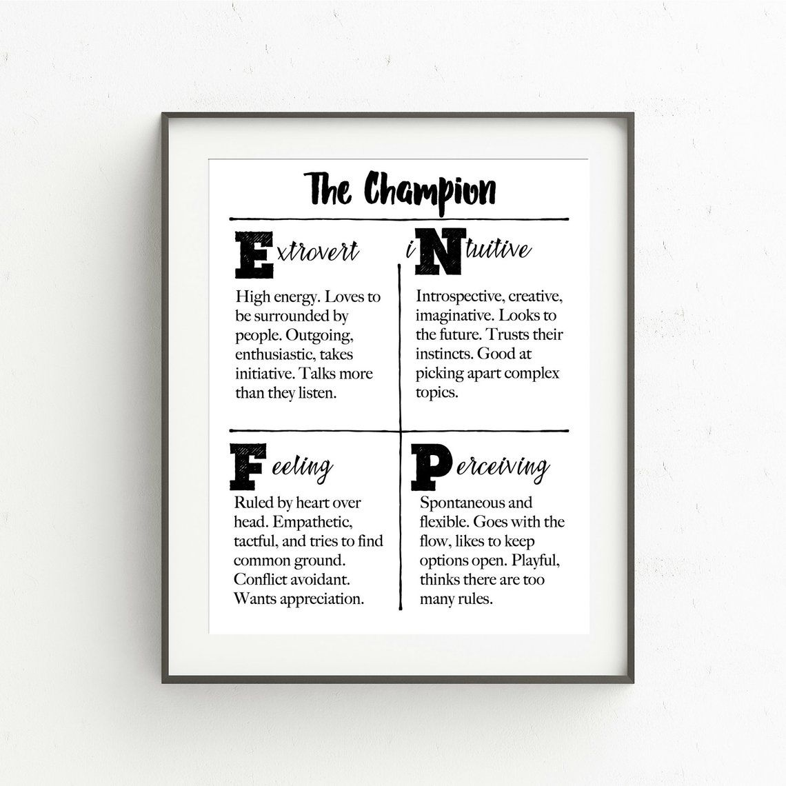 MyersBriggs Personality Traits Printable ENFP, The