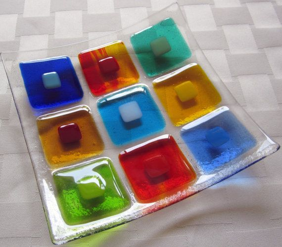 Fused Glass Plate Colorful Double Squares by Shakufdesign on Etsy, $32.00