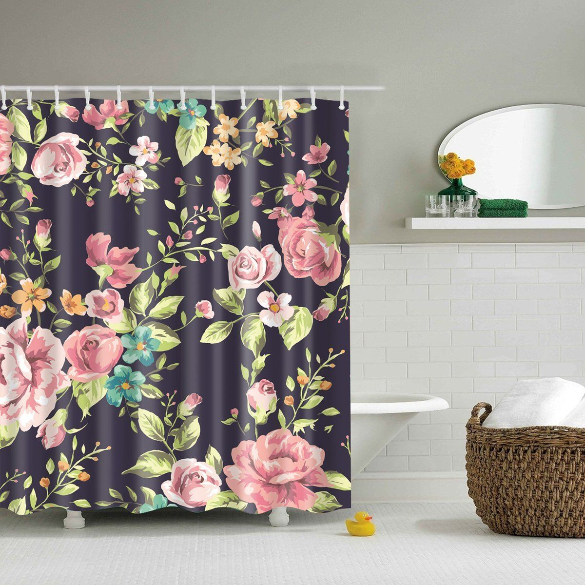 This Pink Black Floral Shower Curtain Made By Waterproof Fabric