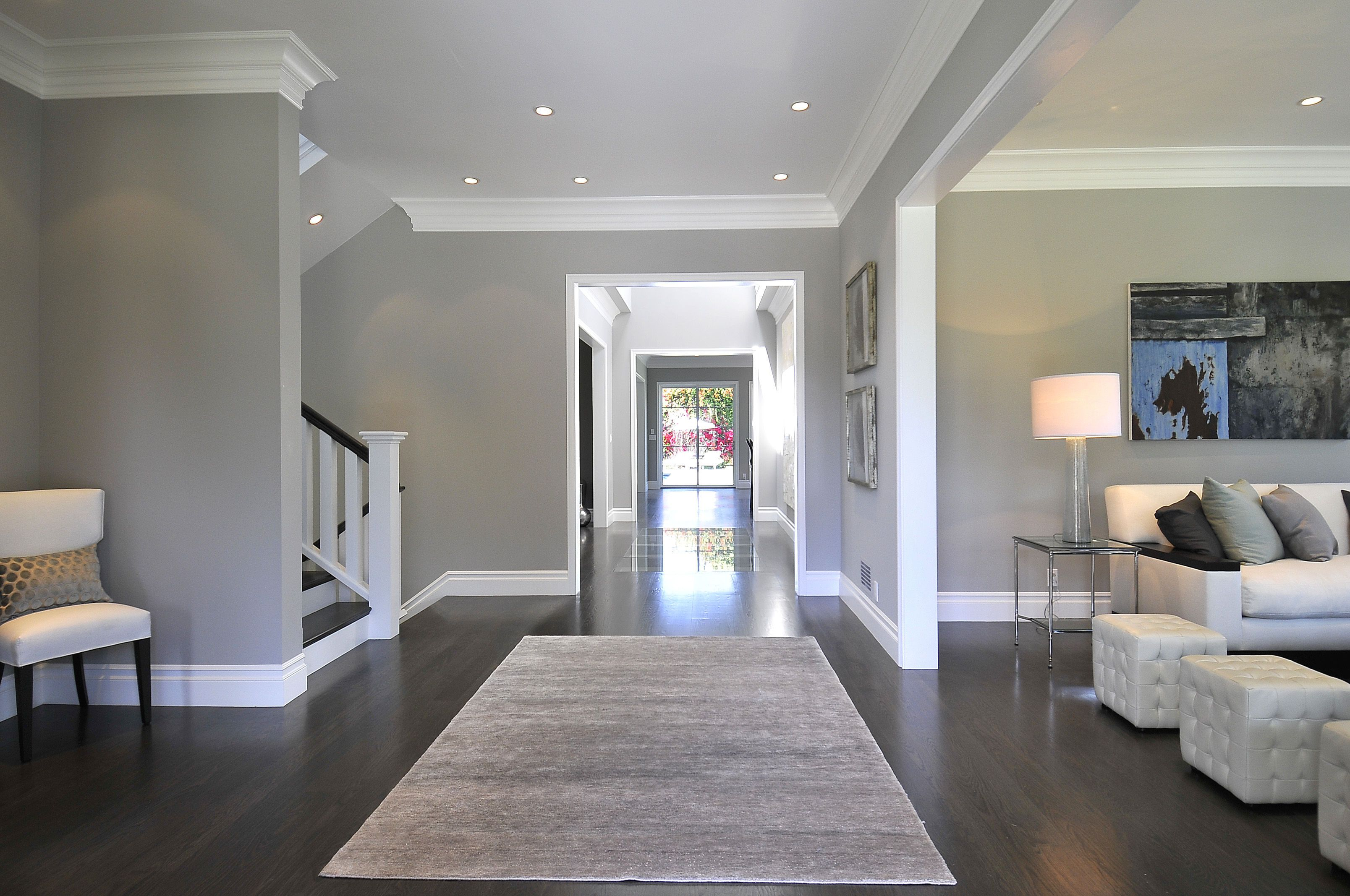 gray walls with dark wood floors