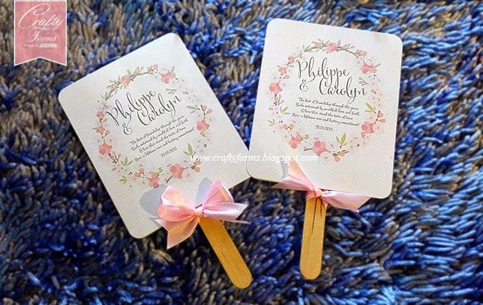 Wedding Card Malaysia Crafty Farms Handmade Pink Fl Wreath Paddle Fan Programs