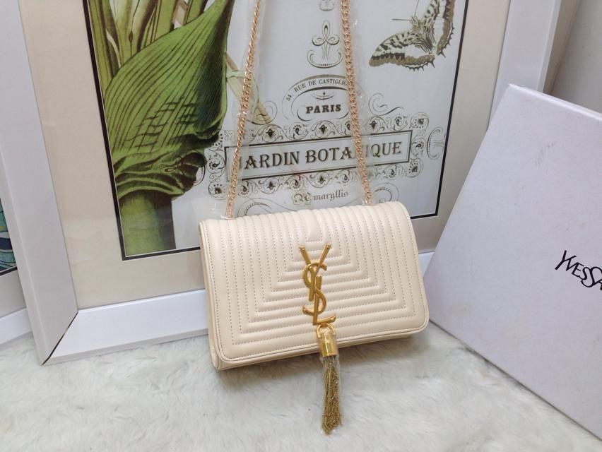 S/S 2015 Saint Laurent Bags Cheap Sale-Classic MONOGRAM SAINT LAURENT Tassel Satchel in White Matelasse Leather