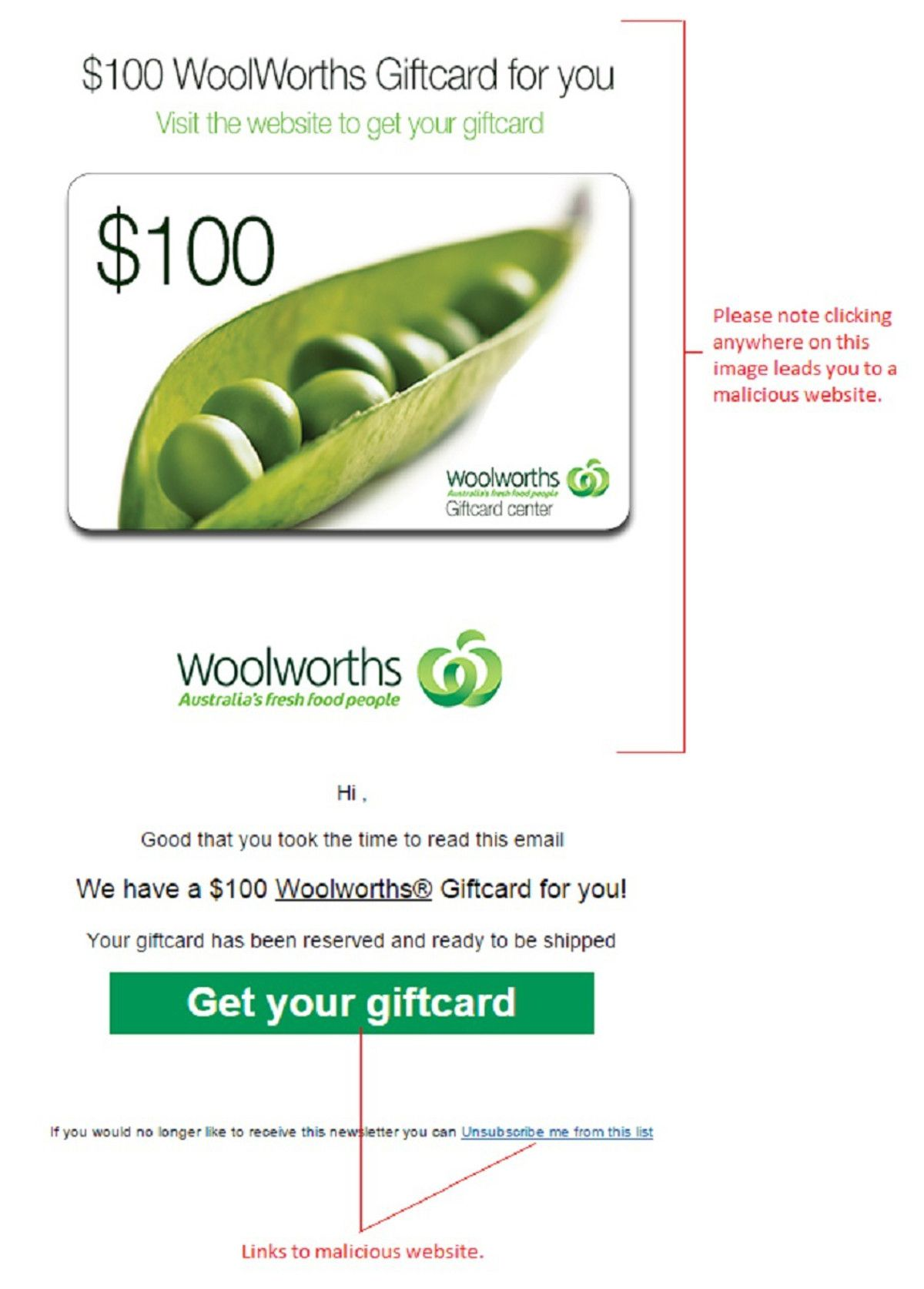 Gift Card Woolworths Woolworths 100 Gift Card Email Scam Security News Gifts Cards