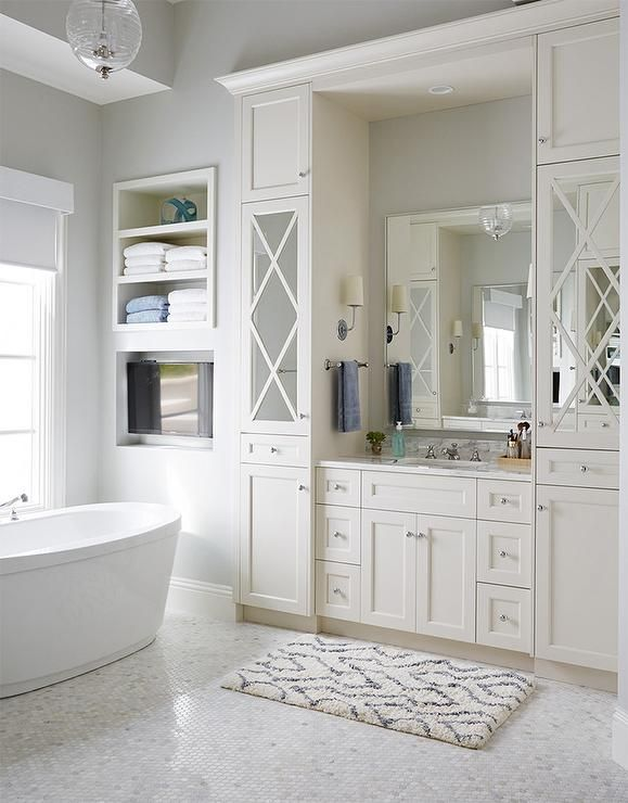 Best White And Gray Bathroom Features Walls Painted Benjamin 400 x 300