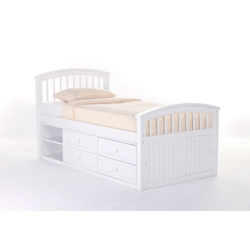 Best School House White Captain Bed Twin Size Captains Bed 400 x 300