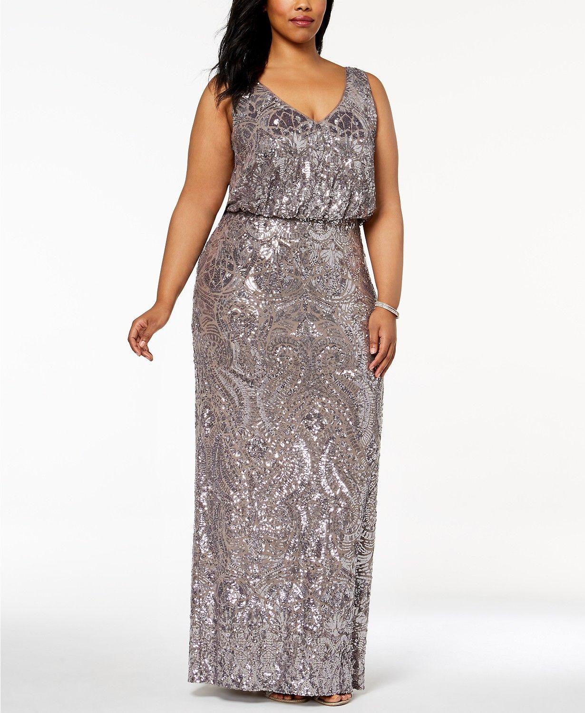 Betsy & Adam Plus Size Sequined Blouson Gown - Dresses ...