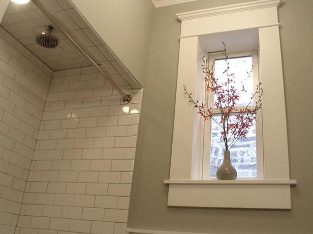 Bathroom Window Molding shower tile.. trim on basement windows. | new bathroom | pinterest