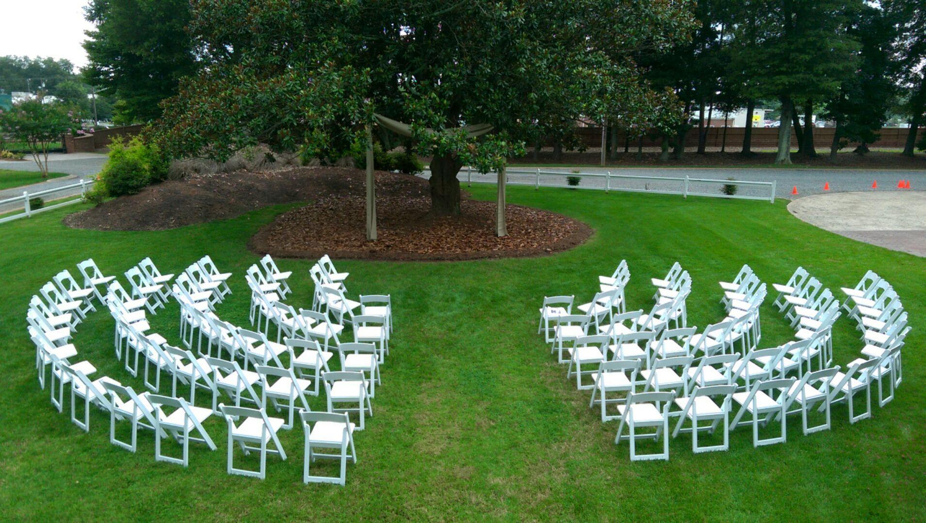 Ceremony Set Up We Love The Stadium Seat Arrangement Wedding Ceremony Chairs Wedding Ceremony Seating Outdoor Wedding Chairs