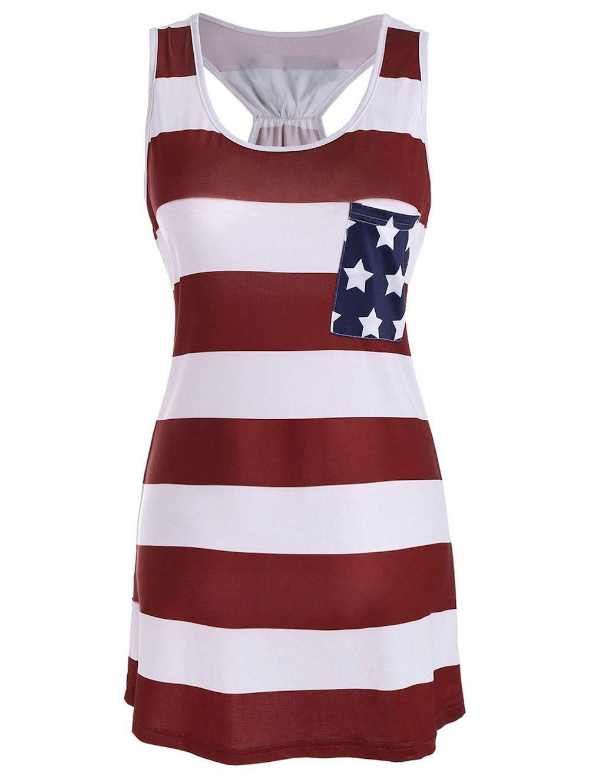 Stars And Stripes Racerback Tank Dress Racerback Tank Dress Sleeveless Tshirt Mini Dress Summer Casual [ 1330 x 1000 Pixel ]