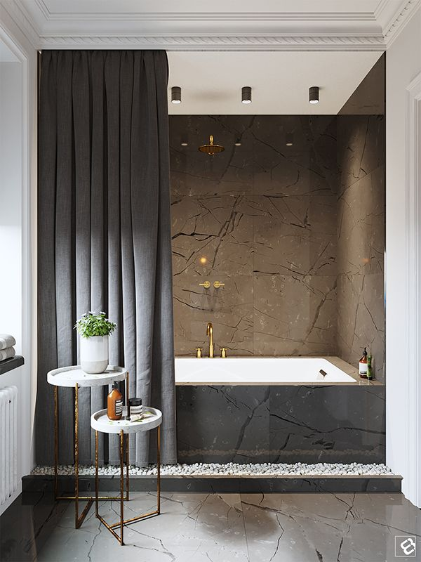 Bathtub With High End Finishes Modern Classic Interior Modern Classic Bathrooms Modern Bathroom