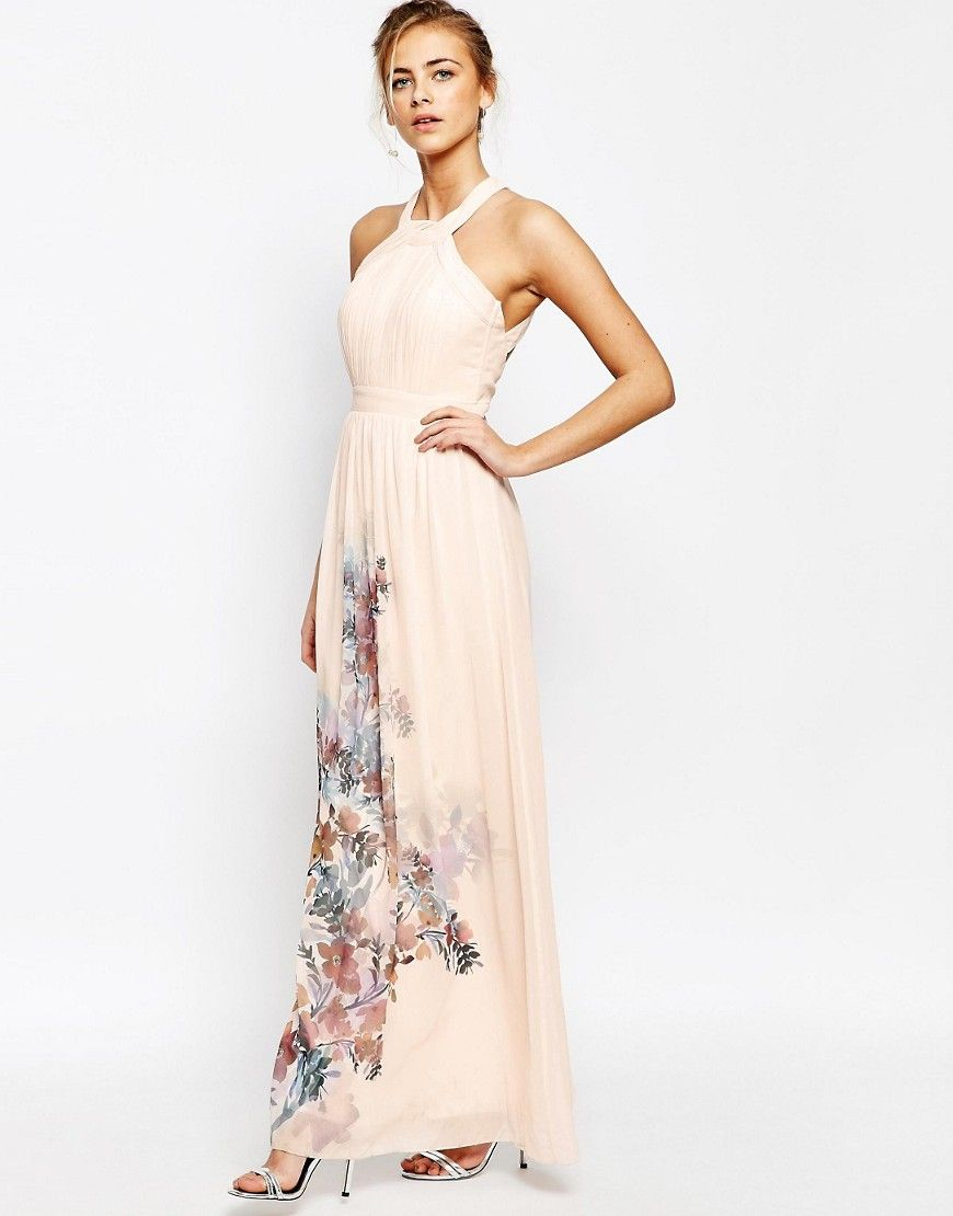 High Neck Maxi Dress with Open Back - Nude floral print Little Mistress 5DjX7r