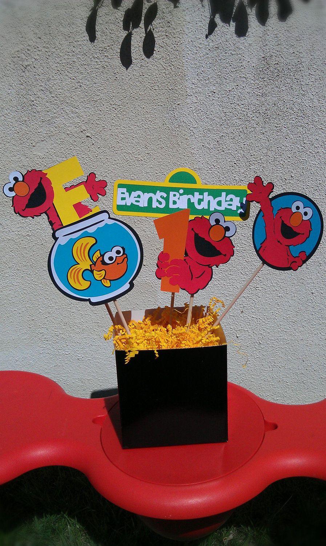 Elmo centerpiece or decoration for cake table 2350 via