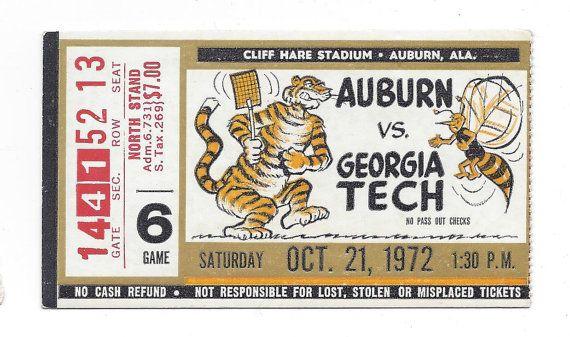1972 Auburn vs. Georgia Tech Ticket Stub by FriscoAuctions ...
