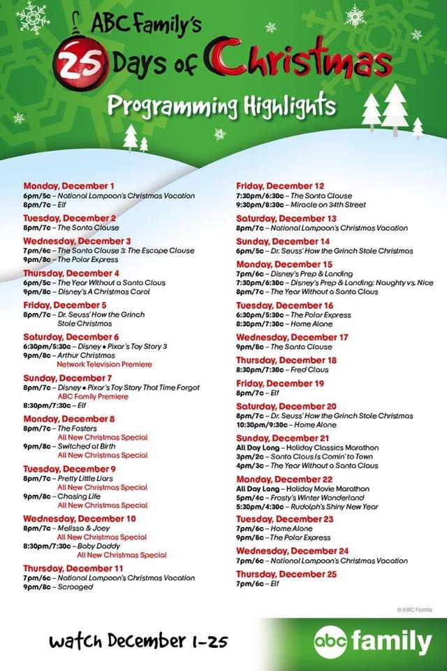 picture relating to Abc Family 25 Days of Christmas Printable Schedule referred to as ABC Familys 25 Times of Xmas 2014 Video clip Timetable
