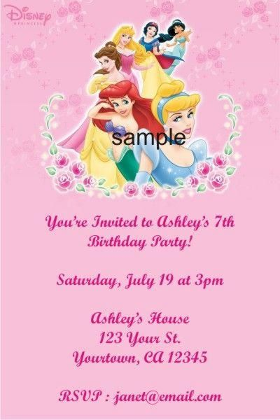 Pictures of Personalized Disney Princess Birthday Party Invitations