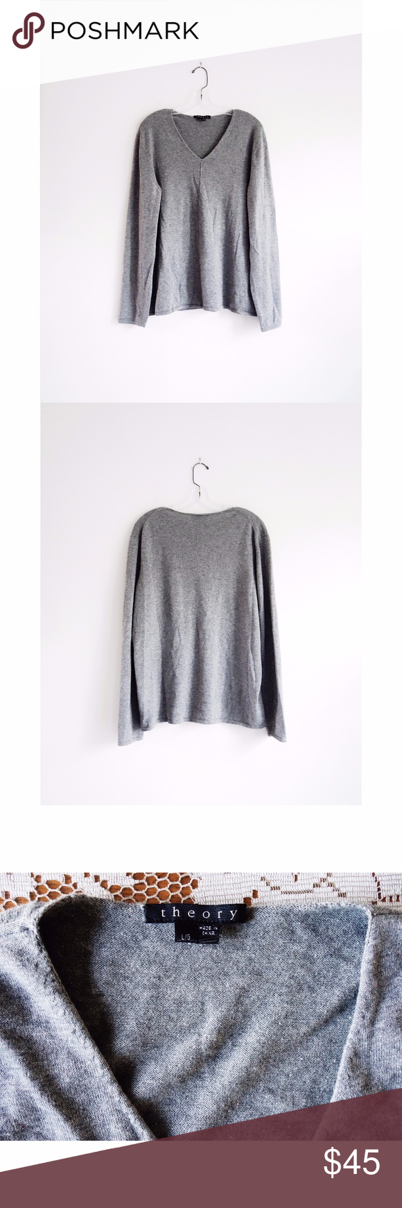 Theory Grey Cotton Cashmere Sweater sz L | Cashmere sweaters ...