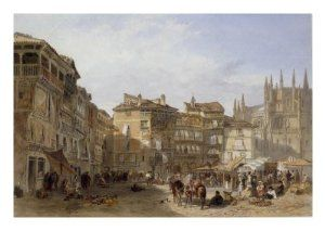 The Town Square, Segovia, Spain, 1856 Premium Giclee Poster Print by Edward Angelo Goodall