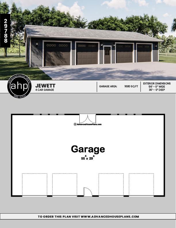 Spacious 4 Car Garage In 2020 Garage House Plans Garage Plans Garage Plan