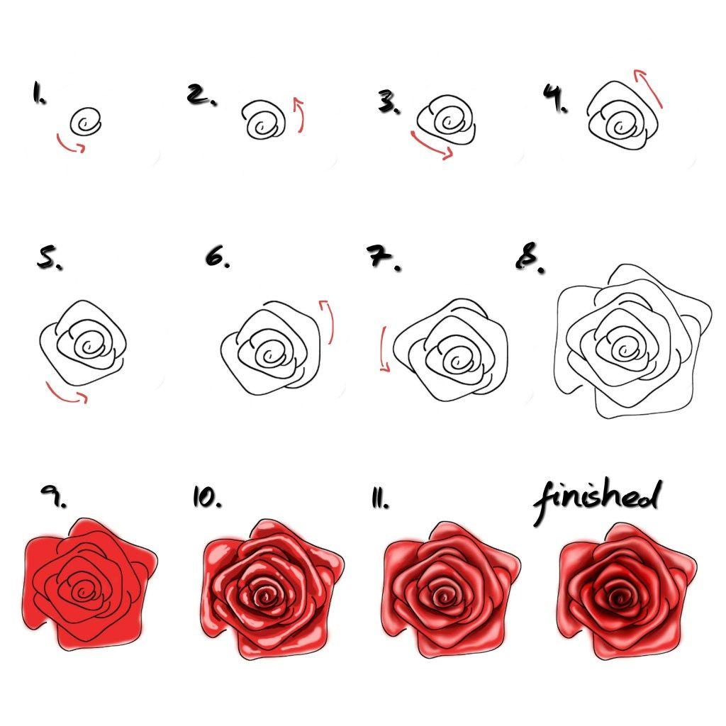 rose malen f r anf nger einfaches tutorial malen lernen. Black Bedroom Furniture Sets. Home Design Ideas