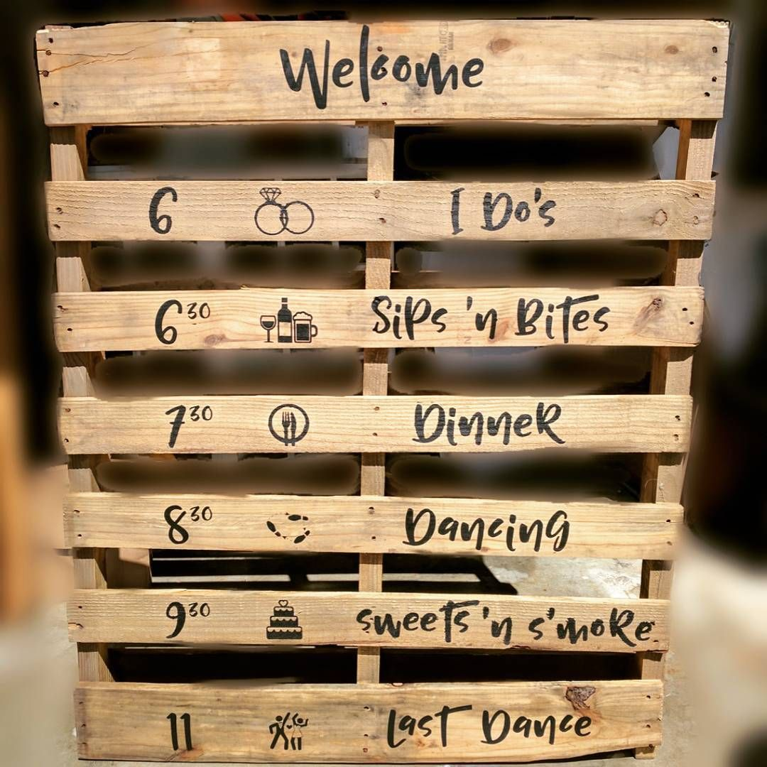 Wedding Pallet Schedule Agenda Diy Rustic #pallet