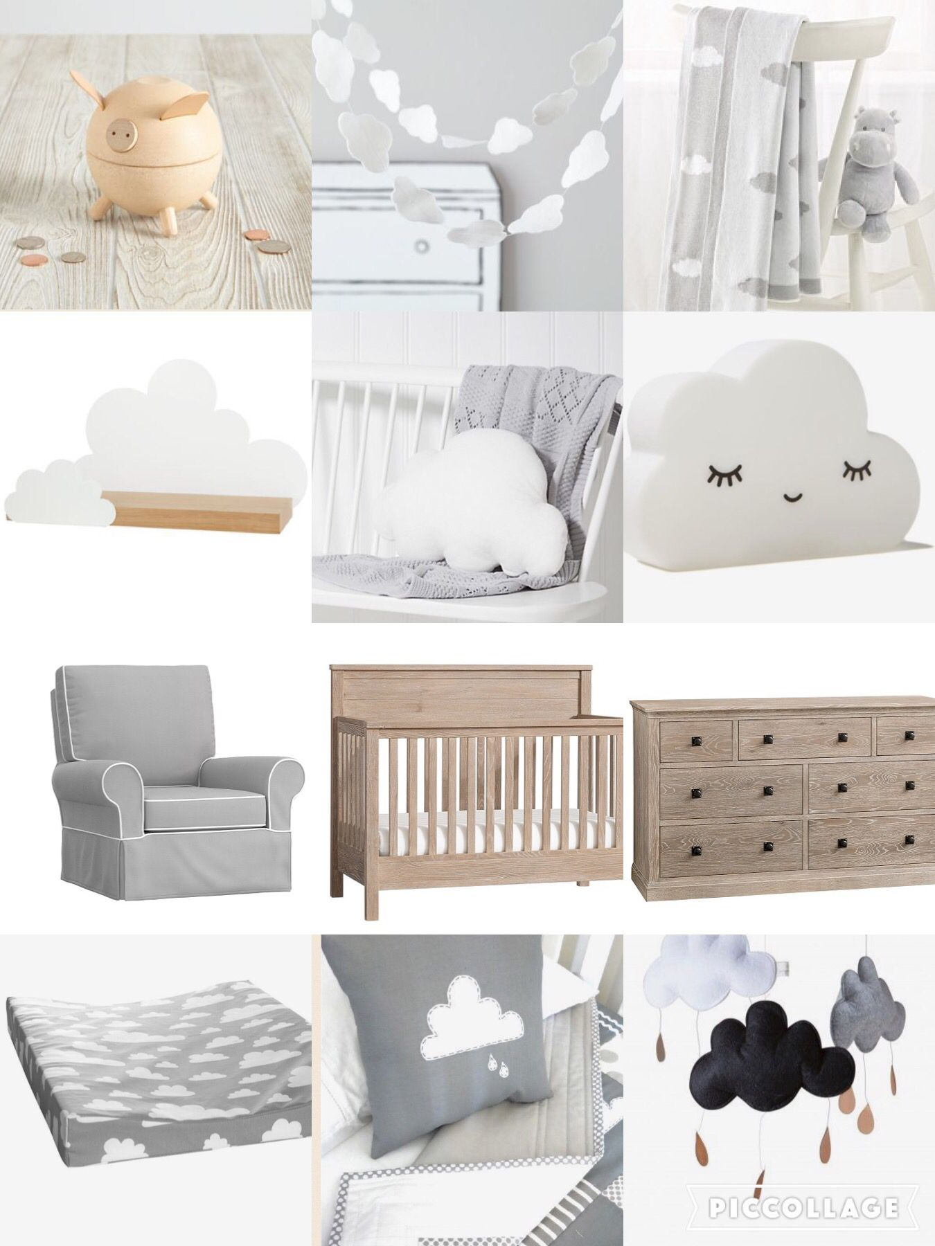 Farg form baby changing table mat grey clouds - Cloud Nursery Theme More