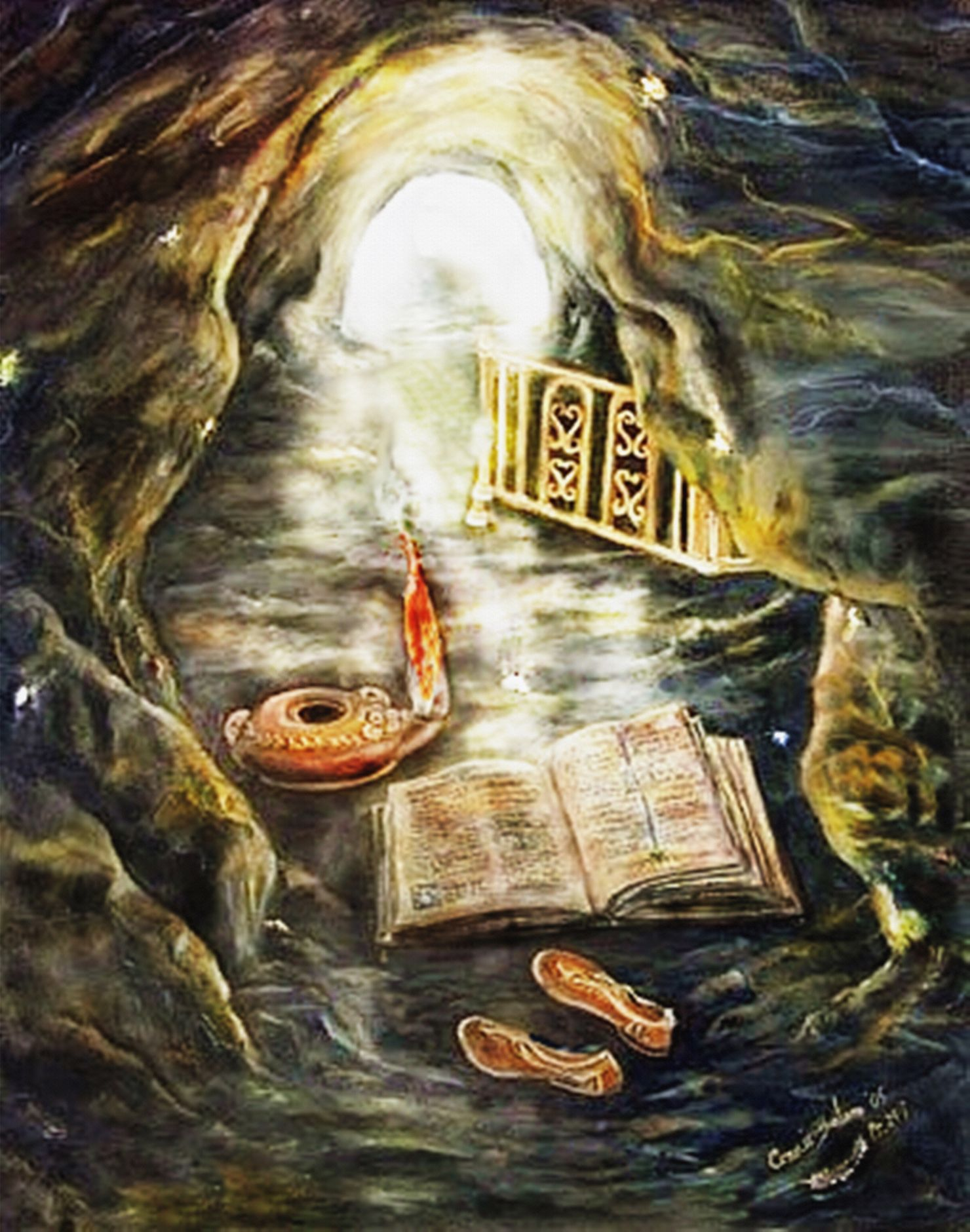 Hidden Truths Oil On Canvas It Is Showing How When We Empty Ourselves Sandals And Go Into The Living Word Of God T Worship Art Biblical Art Prophetic Art