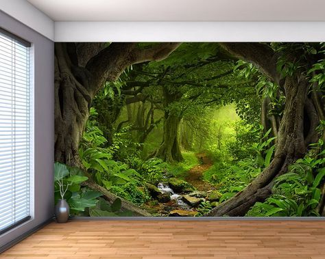 Fantasy Enchanted Magical Forest Large Wall Mural Etsy Large Wall Murals Forest Wall Mural Forest Mural