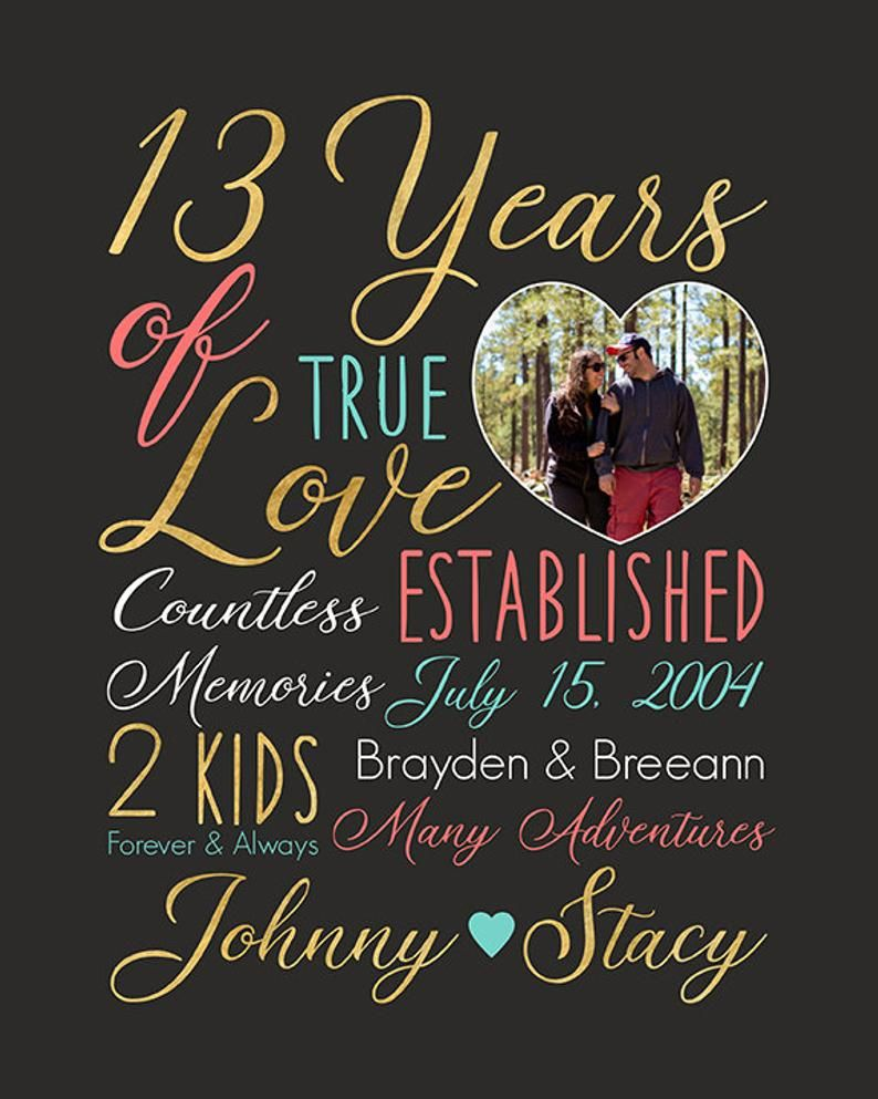 13th Anniversary Personalized Gifts For Wife Husband Spouse Married 13 Years Thirteen Years Of Marriage Wedding Anniversary Wall Art Anniversary Ideas For Him Personalized Anniversary Gifts Anniversary Art