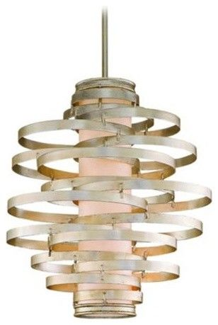 Corbett Vertigo Collection 3-Light Silver Pendant Chandelier eclectic chandeliers
