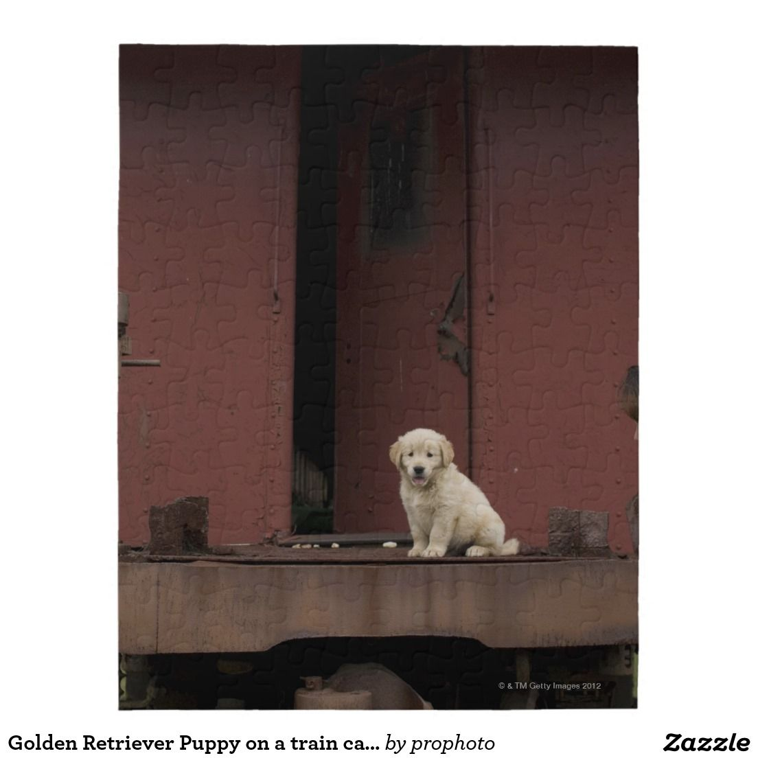 Golden retriever puppy on a train caboose jigsaw puzzle