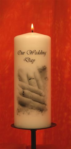Wedding Hands Pillar Candle