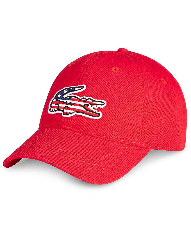 70f321b0 Lacoste Men's Big Croc Adjustable American Flag Logo Cap ...