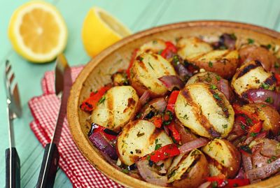 Grilled Red Potato Salad with Lemon and Herb Dressing - Better With Reds