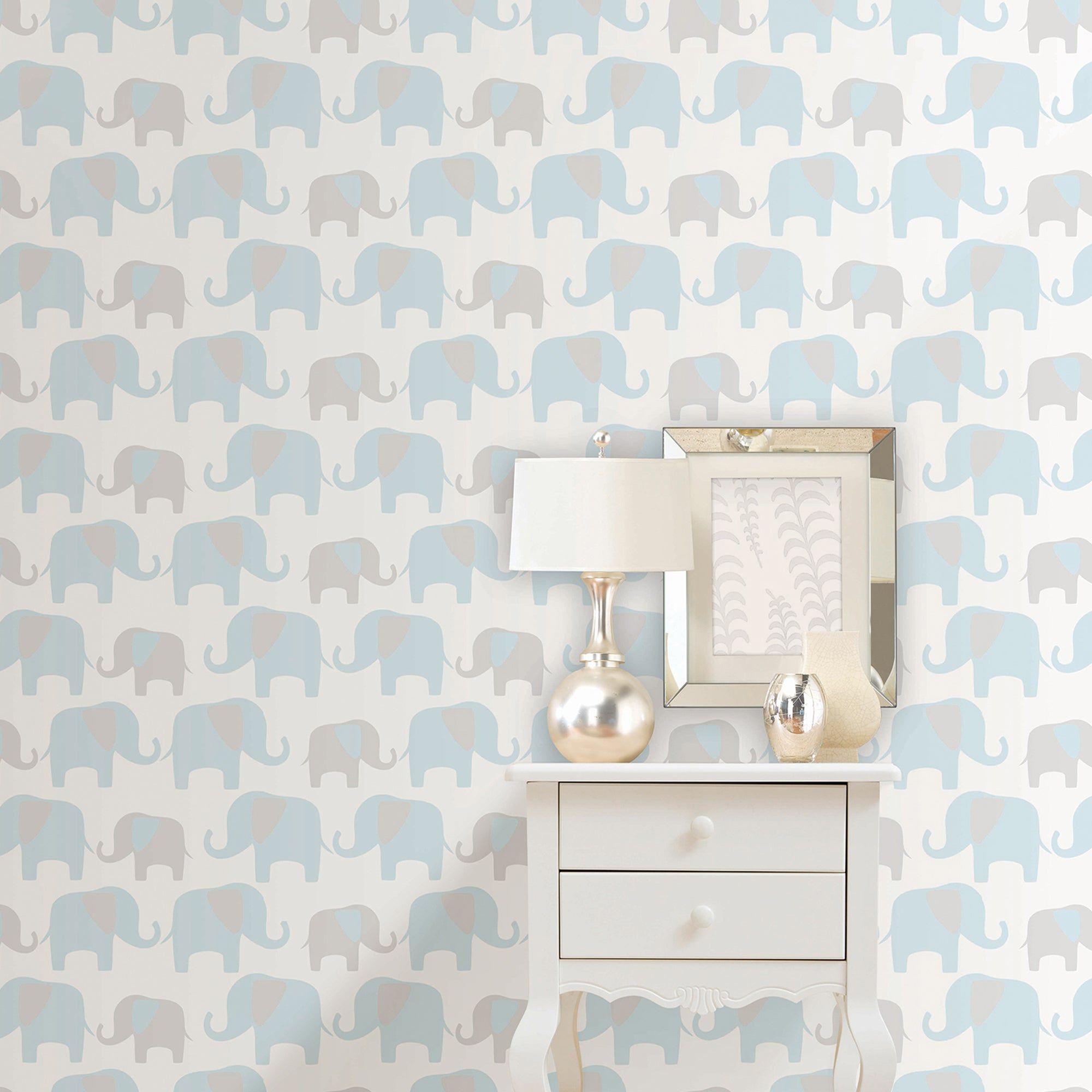 Nuwallpaper Elephant Parade Blue Self Adhesive Wallpaper Self Adhesive Wallpaper Nursery Wallpaper Wallpaper Walls Decor