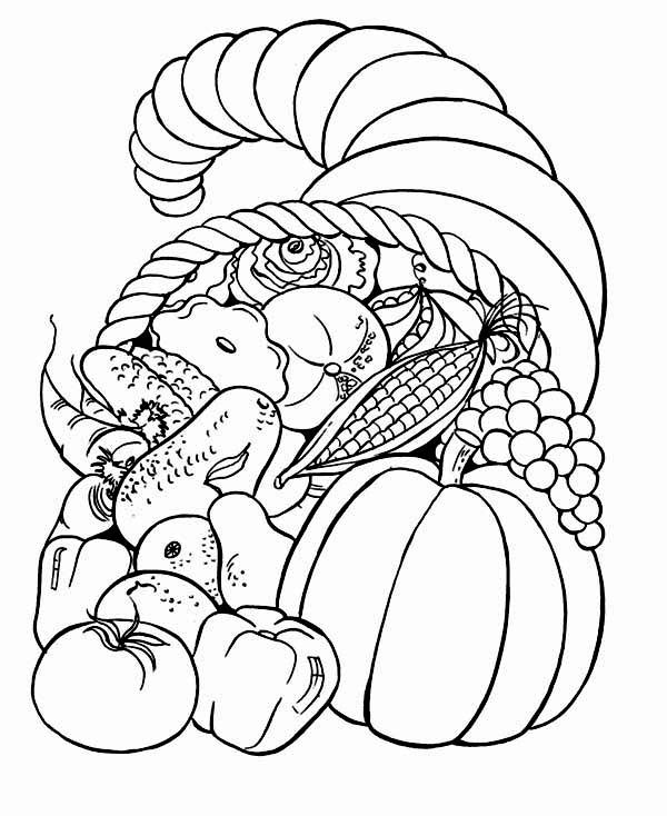 Thanksgiving Basket Coloring Page | Thanksgiving Day, : Full Packed ...