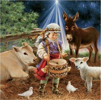 Bi Dona Gelsinger detail - Dona Gelsinger, Girl, Christmas, Cute, Sheep, Art, Cow, Painting, Holiday, Drummer Boy