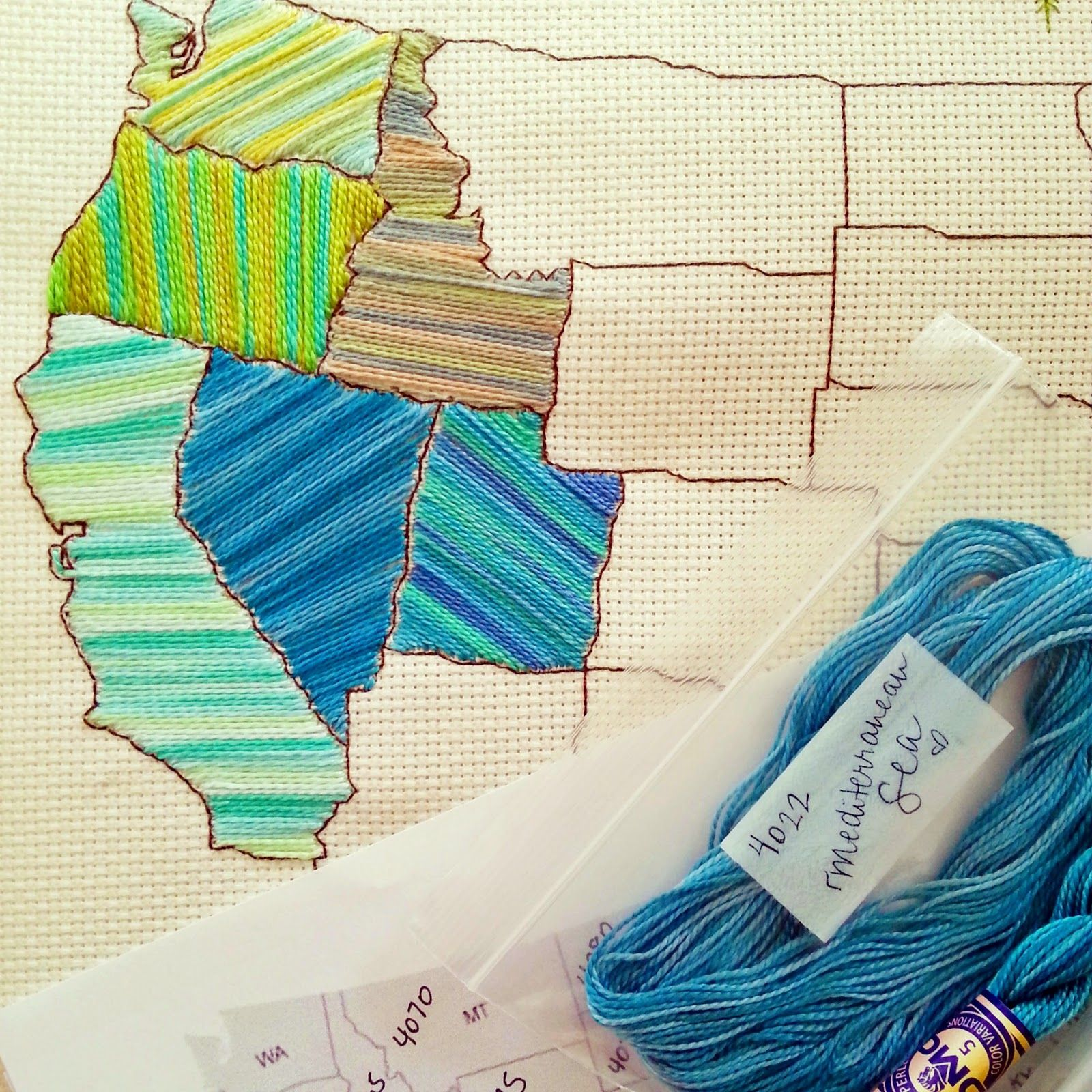 Sew Sewing Cross Stitch Map Us United States Floss Yarn - Map ideas for the us