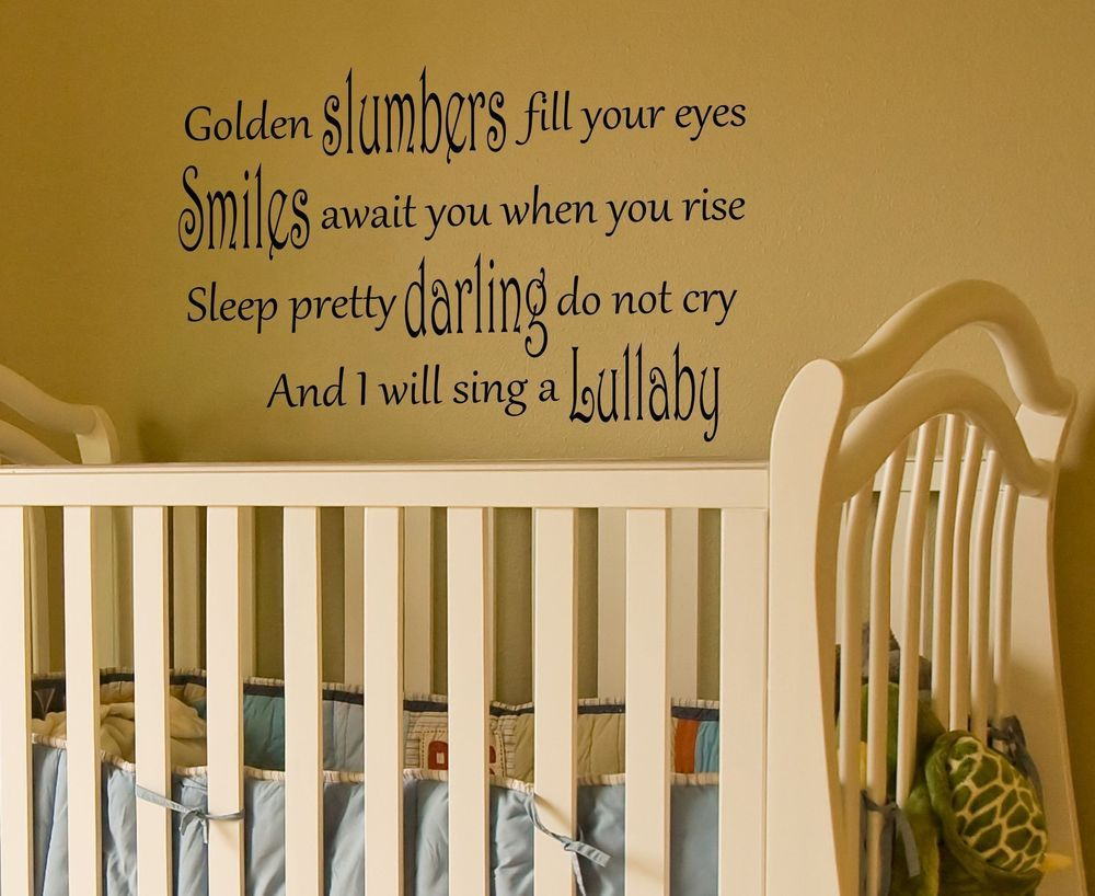 Lullaby Wall Quote Decal golden slumbers sticker nursery baby room ...