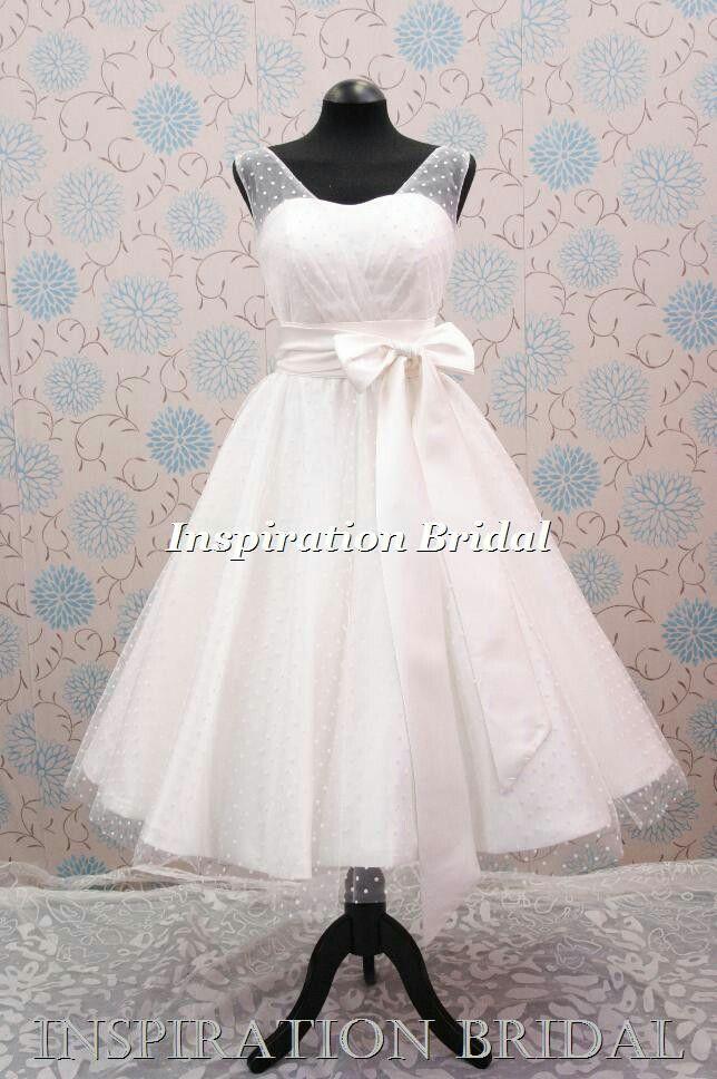 b682242085e2 1547 polka dot tulle tea length dress with elbow length sleeves   Dream Wedding  Dress/Shoes/Hair/Flowers   Tea length wedding dress, Wedding dresses, ...