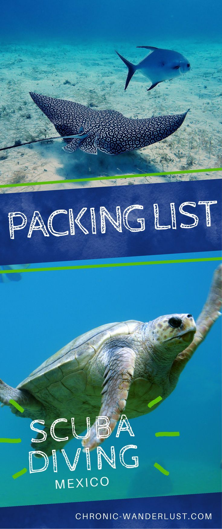 Packing list for your trip to Mexico! Scuba Diving Packing List | plus free Download!  With so many enchanting #dive locations, #Mexico should be on every scuba diver's bucketlist! Find out how to prepare for a #beautiful #diving experience when you #travel to Mexico. This #packinglist covers it all and will have you in the #water in no time!