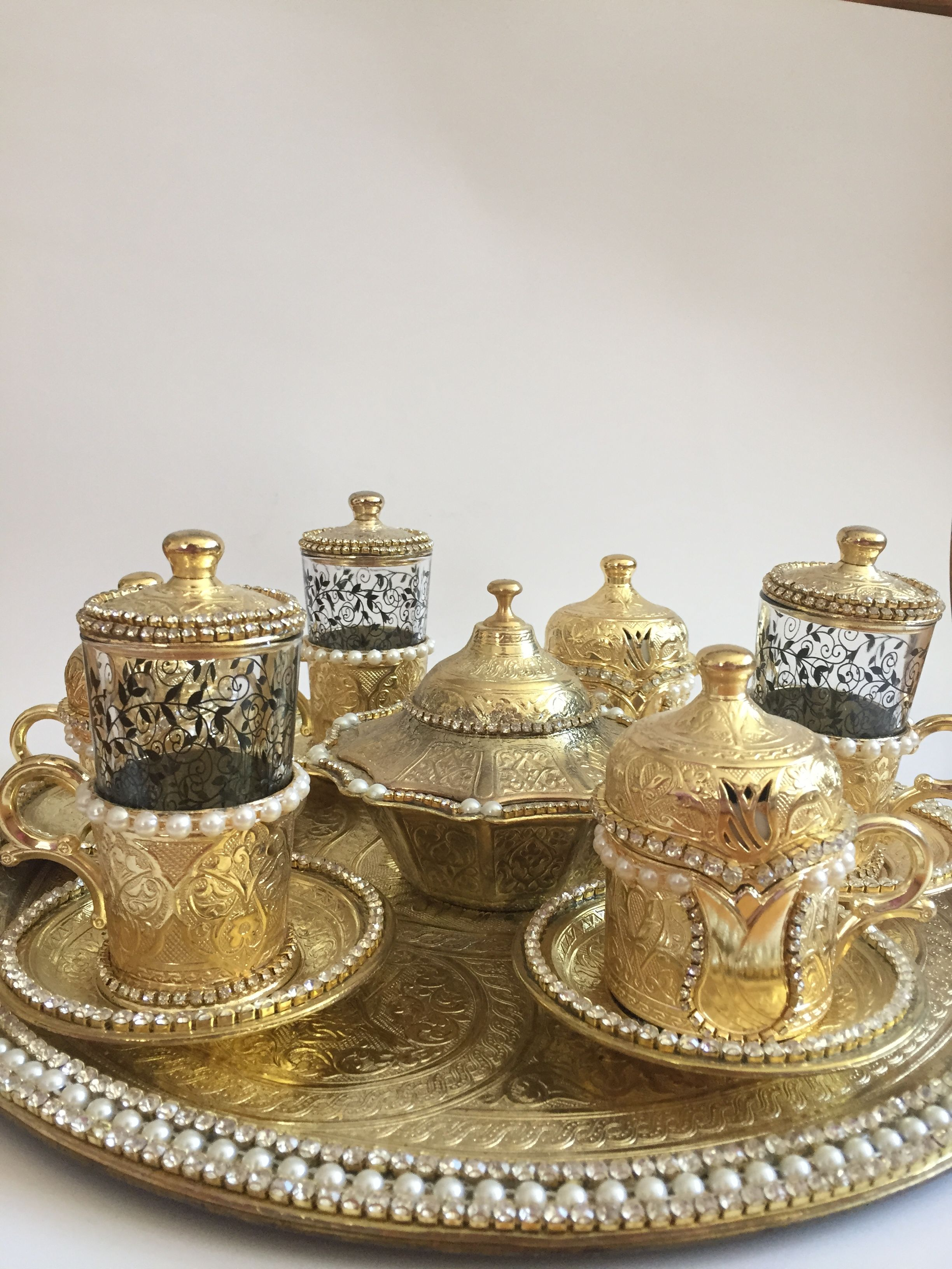 Grandbazaar Of Istanbul By Dony Tea Drink Water Turkish Coffee Serving Set Gold Colour Tulip Figure Engravings On Gl Cups Porcelain Pearl