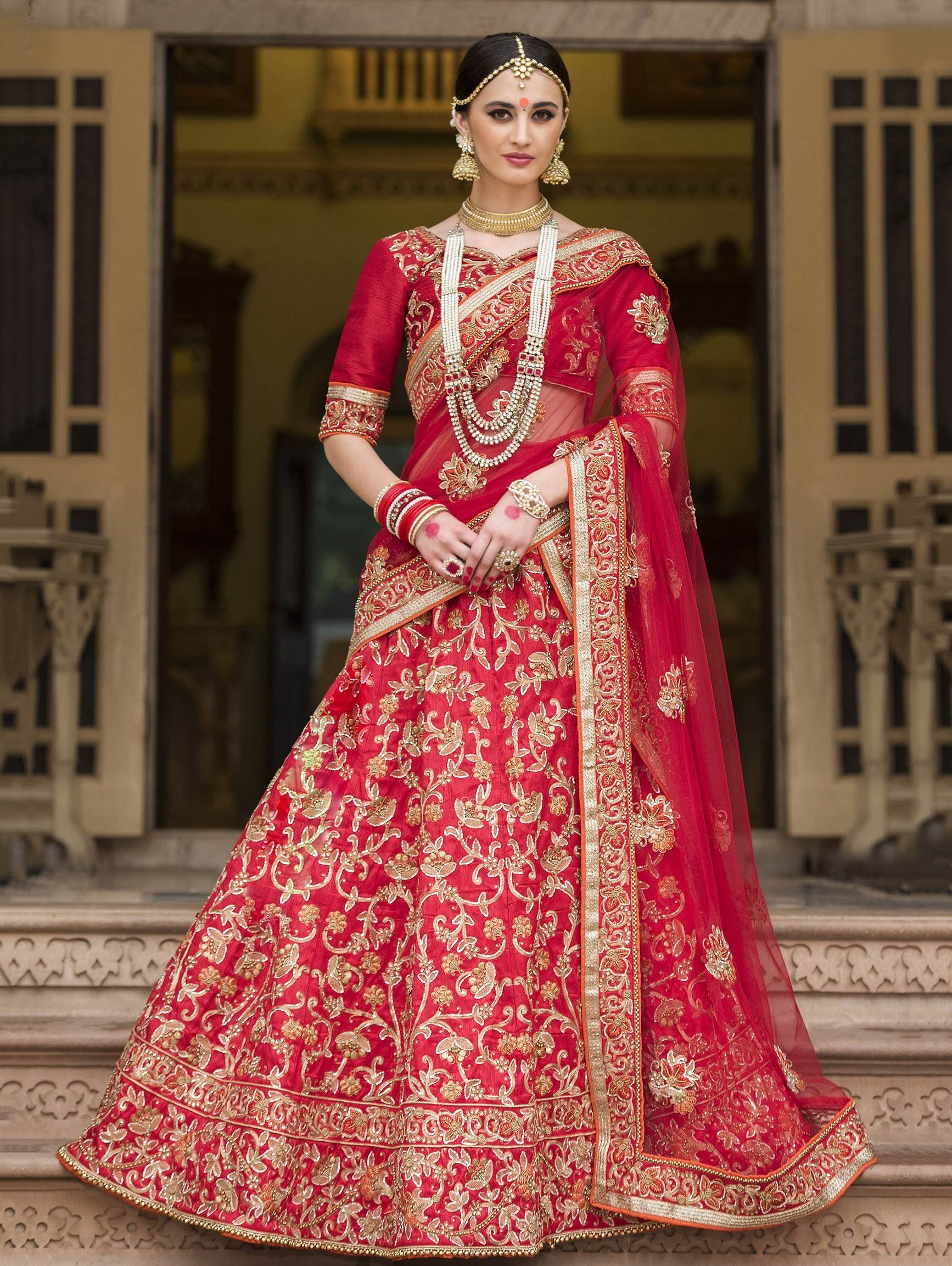 35761ac50 Red Bangalore Silk Lehenga Choli with Embroidery Work